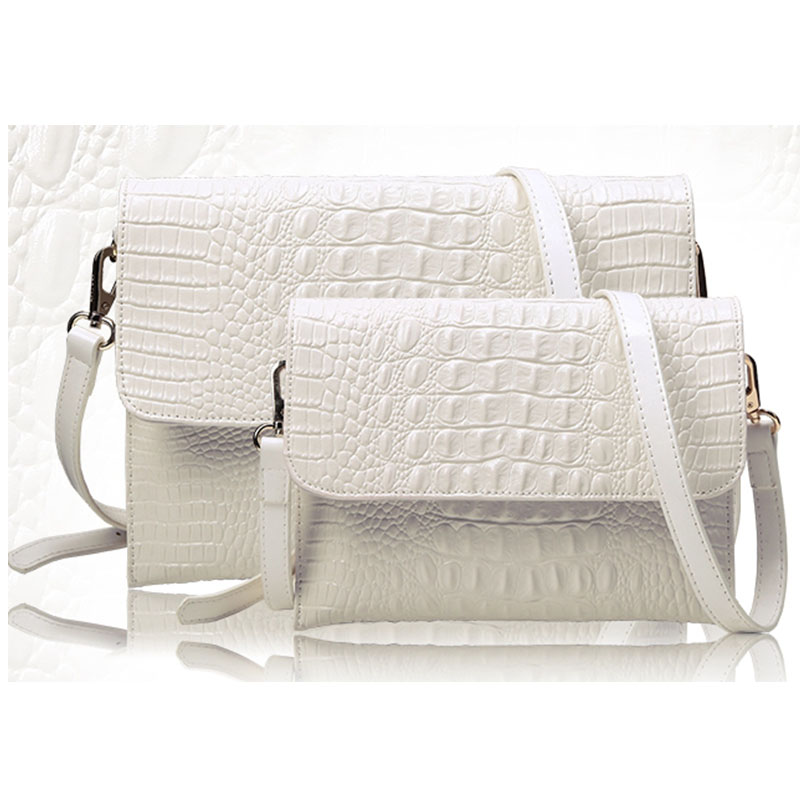 Women Envelope Evening Clutch Bags White Crocodile Pattern Lady Genuine Leather Shoulder Bags Crossbody Purses &amp; Handbags A052<br>