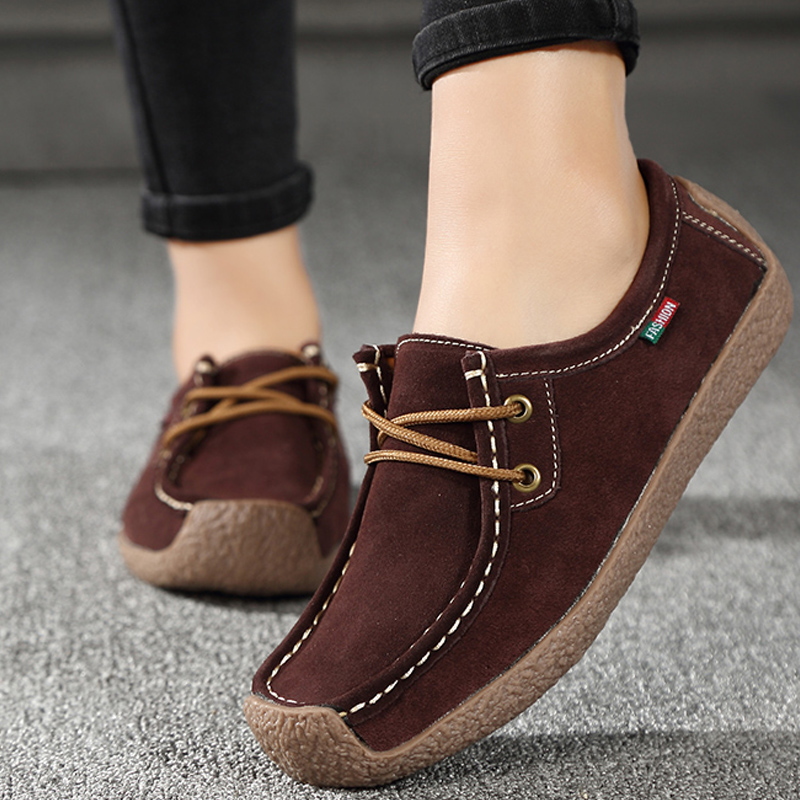 Women Flats Genuine Leather Loafers Lace Up Folding Moccasins Foldable Casual Shoes Ladies Square Toe Female Zapatos Mujer(China)
