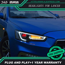 Car Styling Head Lamp case for Mitsubishi Lancer Headlights 2009-2016 LED Headlight DRL H7 D2H Hid Option Angel Eye Bi Xenon(China)