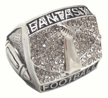 Championship Ring Fantasy Football Lombardi Super Bowl Styled Diamond and Silver in Size 9(China)