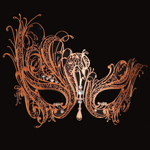 Women Popular Rose Gold Swan Light Metal Laser cut Venetian Masquerade Mask Sparking Rhinestones For BALL Prom Party Costume