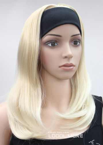Wholesale price Hot Sell! TSC^^^^   2015 NEW Blonde Medium long Straight women Daily 3/4 half wig headband MSHTLG043<br><br>Aliexpress