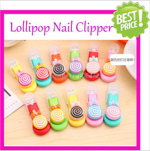 Free Shipping 10pcs/lot Lovely Cartoon Nail Clippers Candy Color Nail Cutter Lollipop Nail Scissors Home Supplies Cute Nail Tool