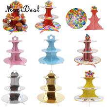 MagiDeal 3 Tier Wedding Birthday Party Foldable Paper Dessert Cake Stand Crown Cupcake Display Stand Cake Tools