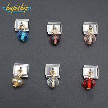 Hapiship 1Pcs 9mm Width Original Daisy 6 Color Crystal Charm Fit Bracelet Stainless Steel Jewelry Making DJ18(China)