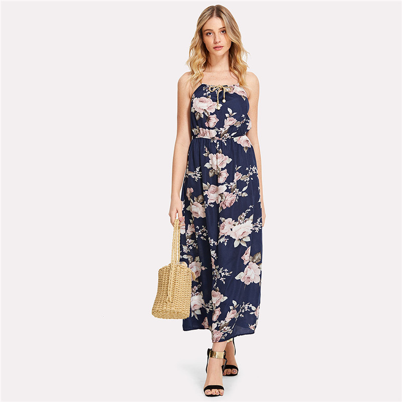 COLROVIE 2018 All Over Florals Faux Pearl Detail Cami Dress Ladies Sleeveless A Line Dress Spaghetti Strap Vacation Dress 10