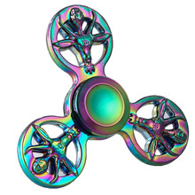 New arrival Toy Hands Spinner Colorful Rainbow Metal Tri Fidget Spinner Anti Stress Toys Gift Man Finger deer shape Toys Tops(China)