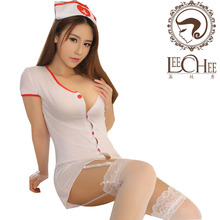 Buy Leechee Sexy lingerie women babydoll cosplay sexo nurse uniform Button perspective erotic underwear female porn costumes AY001