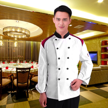 L-XXL Long Sleeve Kitchen Cooker Working Uniform Chef Double Breast Waiter Waitress Coat Jacket Color White Wholesale