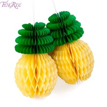 FENGRISE Pineapple Honeycomb Table Centerpiece Ananas Decoration Fruit Paper Lantern Luau Party Home Decoration Accessories