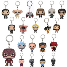 Super Heroes Figure Keychains Dobby Hermione Snape Daenerys Targaryen Jon Snow Dragon Ball Z Goku Vegeta Blocks Key Ring Chain(China)
