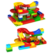 47PCS/73PCS Kids Building Block Toy Set DIY Construction Marble Race Run Maze Balls Track Colorful Building Blocks
