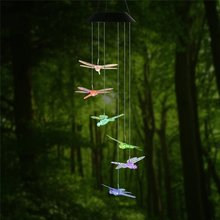 Dragonfly LED Solar Panel Wind Chime Night Light, Color-Changing Garden Outdoor Lighting Solar Lamp for Home Garden Decoration