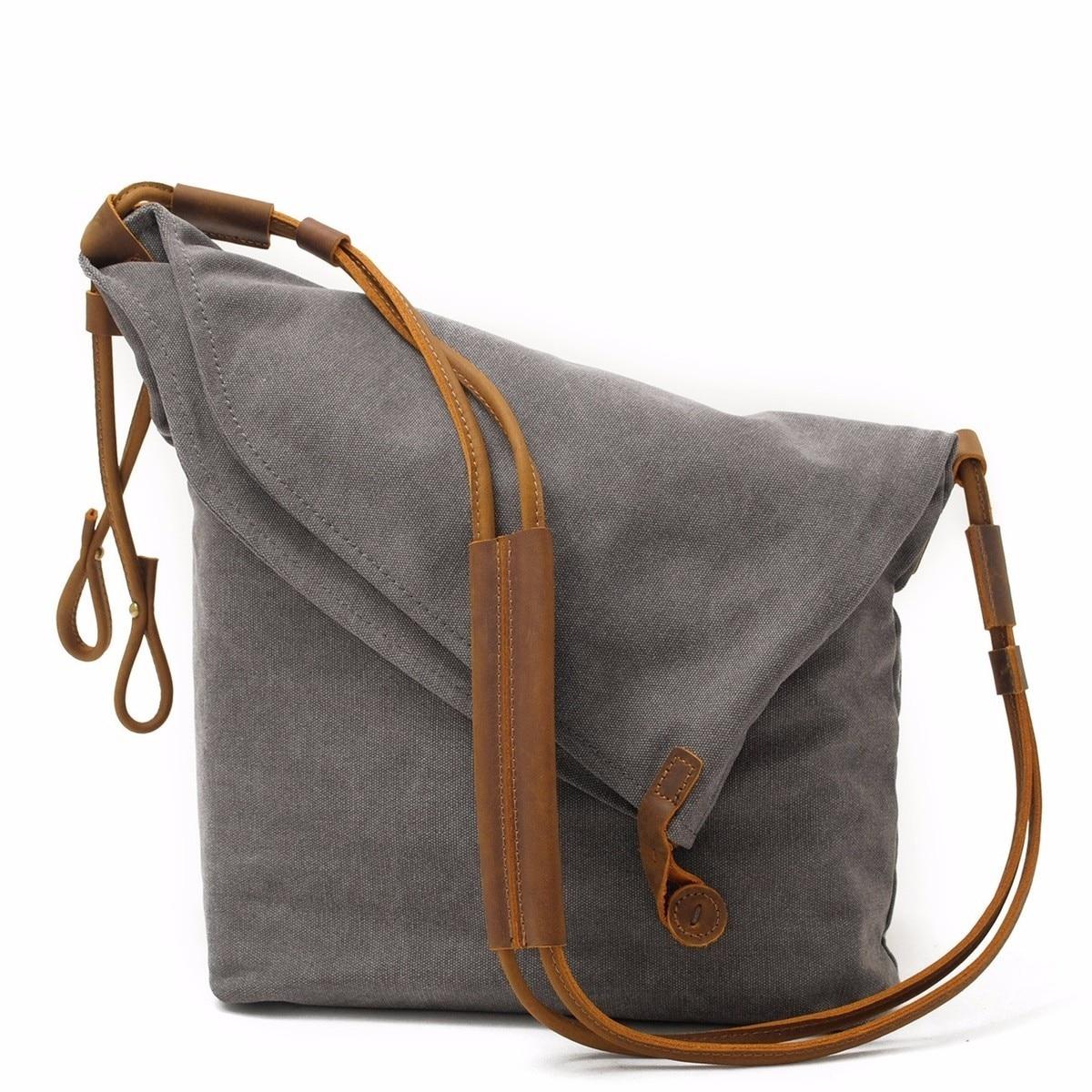 DAYGOS Casual Vintage Fold Cover Bag Mens Canvas Travel Crossbody Shoulder Messenger Bag Handbag For Men<br>