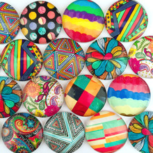 ZEROUP round photos glass cabochon mixed pattern fit cameo base setting for flat back jewelry components 20pcs/lot TP-158