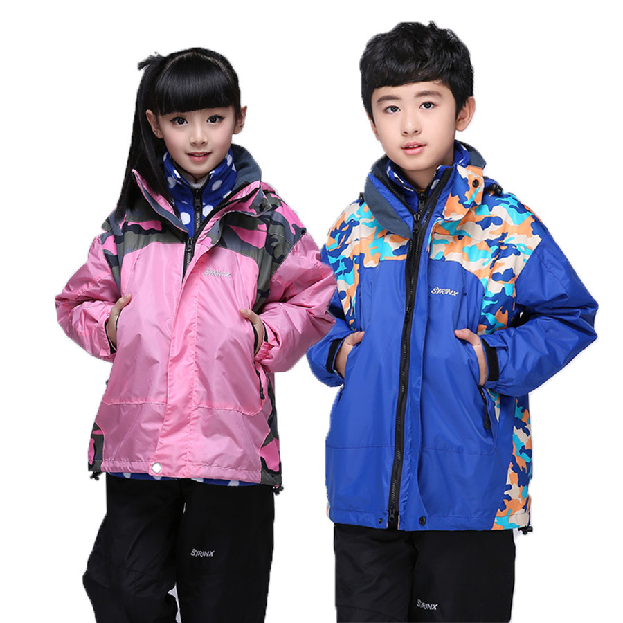 Children Outerwear Warm Coat Waterproof Windproof Boys Girls Jackets Sporty Kids Clothes Double-deck For 4-14T Winter and Autumn<br>