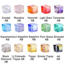 Chinese Crystal Glass Square Plating Beads AB Color 4mm Cube Spacer Loose Beads DIY Making Lampwork Jewelry Beads Wholesale
