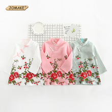 New Chinese Style Cheongsam Girls Dress Kids Long Sleeve Floral Embroidery Baby Girl Clothes Spring 2017 Retro Children Clothing