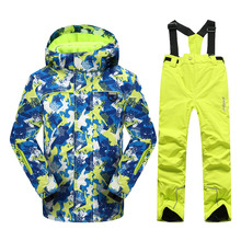 Phibee Korean Boys or Girls Ski Jacket and Pants Windproof Waterproof Kids Snowboarding Suit Children Ski Suit -30 Degree(China)