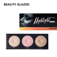 BEAUTY GLAZED  Brand Highlight Pressed Illuminating Powder Easy To Wear Concealer Powder Natural Compact Powder 3 Colors In 1