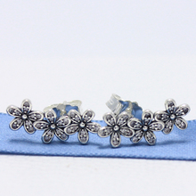 ROCKART 925 Sterling Silver Dazzling Daisies Stud Earrings With Clear CZ Flowers For Women Fine Jewelry Gift New Hot(China)