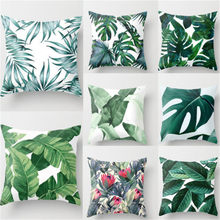 Green Tropical plant Pillow Case Cotton Linen good Cover Decorative for giving your good sleep(China)