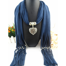 Heart pendant necklace Charm Scarf Necklace Women soft Women Solid Winter Scarfs Jewelry bohemian Accessories(China)