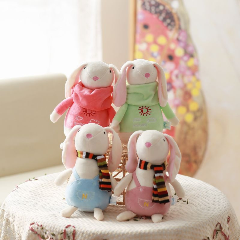 4pcs/lot Cute Rabbit Plush toy Hippo Soft Stuffed Toy Rabbit Plush Toy With Scarf Christmas Gift New Year Gift 25cm <br>