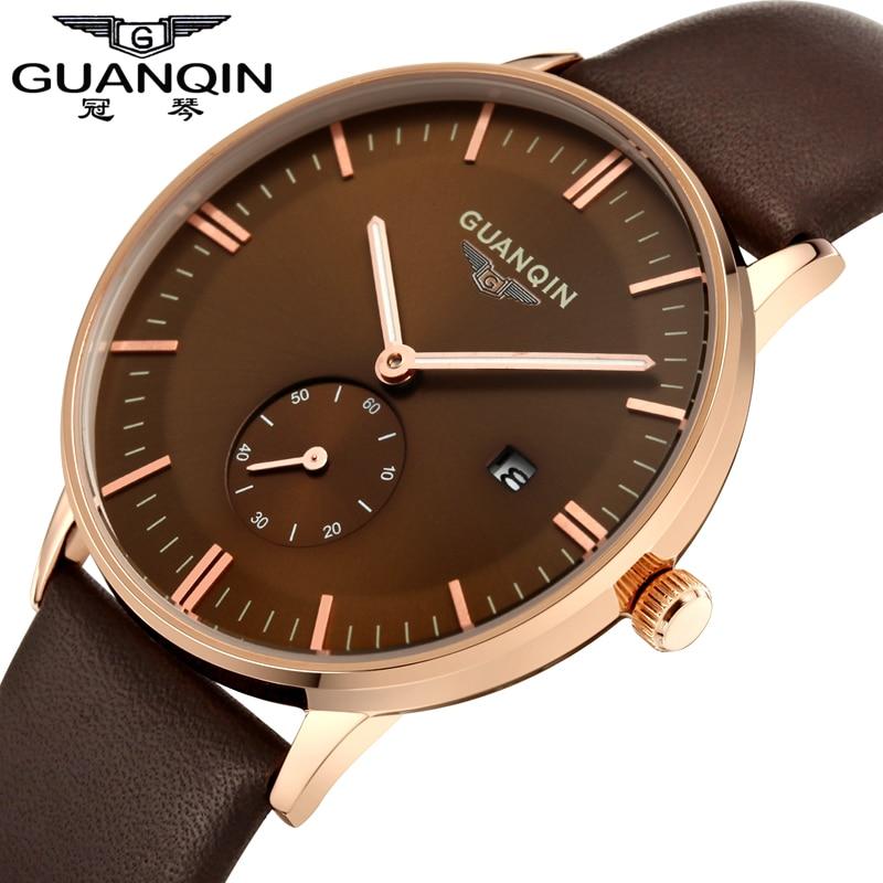 Luxury Men Watch Original Brand GUANQIN Quartz Watch Waterproof Leather Male Watches Men Sport Clock Relogio Masculino Reloj <br>