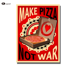 CHENFART Posters and Prints Vintage Make Pizza not War Wall Art Canvas Print Decorative Pictures no Framed(China)
