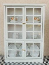 "7.28"" 1:12 Dollhouse Miniature Kitchen Furniture White Cupboards Display cabinet  Children Gift"