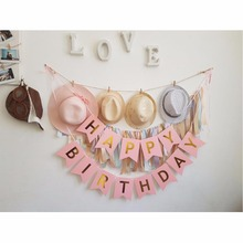 FENGRISE Happy Birthday Banner Pink Gold Letters Paper Garland Boy Girl Christening Birthday Decoration Kids Party Supplies(China)
