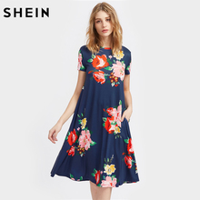 SHEIN Flower Print Side Pocket Detail Swing Tee Dress Summer Dresses Casual Navy Short Sleeve Floral A Line Dress