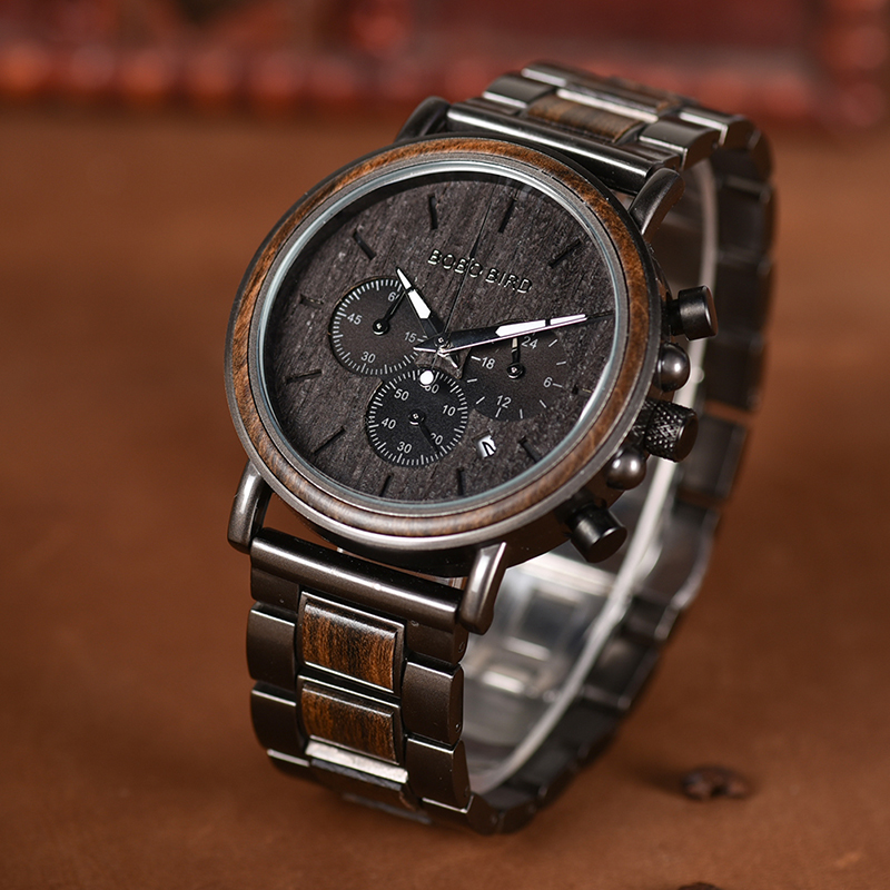 Wood Watches With Stainless Steel Quartz Timepiece 7