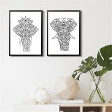 Elephant Drawing Art PRINT African Wall Art , Elephant Poster Hand Drawn Zen Styled Patterned Animal Print