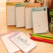 Cartoon Desk 2 Pcs  Weekly Daily Memo Pads Planner Sticky Notes Stickers Diary   Paper Stationery To Do List Office Supply