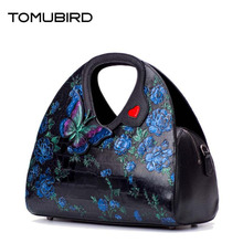 TOMUBIRD 2017 New women genuine leather bag fashion butterfly Handmade embossing real leather art bag women leather handbags