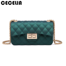Cecelia Children Mini Jelly Colors Bags Metal Chains Belt Message Bags Small Baguette PVC Quilted Handbag Gift for Child(China)