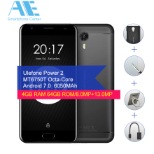 Original Ulefone Power 2 MT6750T Octa Core Cell Phone Android 7.0 5.5Inch 4GB RAM 64GB ROM Smart Phone Touch ID OTG Mobile Phone