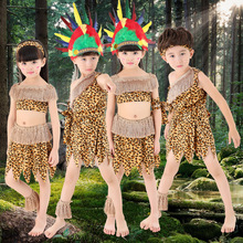 Halloween Costume Children African Indian Leopard Clothing Boy Hunter Cosplay Clothing Kids Stage Performance Clothes 18