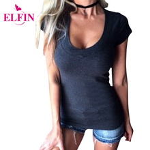 2017 Hot selling High Quality Pure color T Shirt Short Sleeve Sexy Deep V-Neck Women T-shirt Casual Shirts LJ8820R