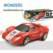 Transformation racing car Electric Transform Car to plane Deform Explosion Hit Car Model  Omni-directional wheel Toy