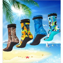 3mm camouflage Diving socks Beach/swim snorkling socks keep warm Anti-skid particles Automatic buckle Diving Boots