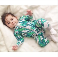 Newborn Baby Boy Clothes Infant Romper Long Sleeve Flower Print Baby Girl Rompers Jumpsuit Pajamas Baby Clothing Girl 1 2 Years(China)
