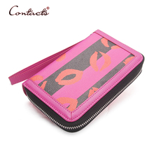 CONTACT'S Women Wallets PU Leather Female Purses Card Holder Coin Pocket Purse Clutch Wristlet Wallet 2017 Hot New Design Brand(China)