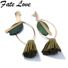 Fate Love 2017 Spring New Collection Long Green Tassel Earrings Gold Oval Round Danger Earring Woman Bijouterie Jewelry FL692