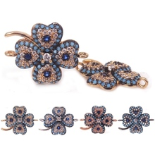 Middle East Style 17*21mm CZ Diamond Connectors Turquoise Blue Clover Spacer Bead Fit Bracelet Making Charms Pendants Craft DIY(China)