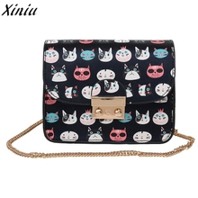 Women Fashion Handbag Cat Printed Leather Vintage Shoulder Bag Ladies Emoji Small Messenger Bag bolso de hombro para hombre*7719(China)