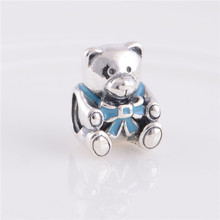 New S925 Sterling Silver Teddy Bear With Sky Blue Bowknot Screw Hole Charm Beads, Compatible With Brand Style Bracelets