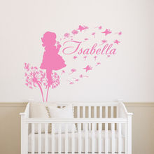 Girl Dandelion butterfly Vinyl Wall Stickers Customized Colour Name Decal Decor High Quality Wall Decal Hot Sale Mural SA298